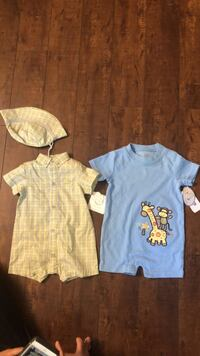 6 month romper brand new with tags. The green one has a hat too.  Pick up near Canada way and boundary. Burnaby, V5G 1V7