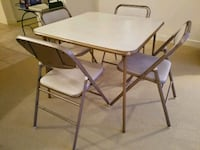 Vintage 5 piece: folding card table with 4 chairs
