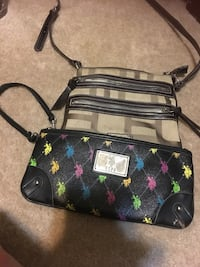 Two black uspa zip bag and brown crossbody bag