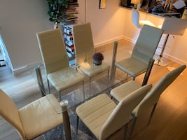 Modern glass dining table with 6 chairs and a Free rug
