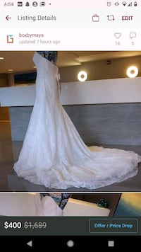 Ivory gold lacy wedding gown size 14