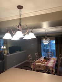 White and brown uplight chandelier Sykesville, 21784