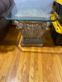 Square coffee table and end table with glass tops and stone bases