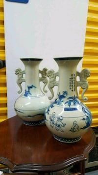 2 Large Blue Oriental Vases