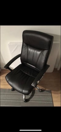ADJUSTABLE TURNING BLACK LEATHER OFFICE DESK ARM CHAIR COMFORTABLE