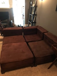 Brown suede sectional lounger Ashburn, 20147