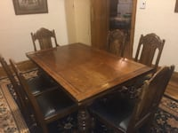 BEAUTIFUL ANTIQUE DINING ROOM TABLE WITH 6 CHAIRS MONTREAL