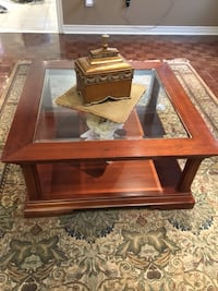 Square wood framed glass top coffee table Vaughan, L6A 2H8