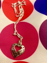 """Sterling Silver Heart pendant necklace / Silver chain 18"""" inch long very pretty high shine Alexandria, 22311"""