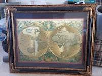 world map with brown frame Warrenton, 20187
