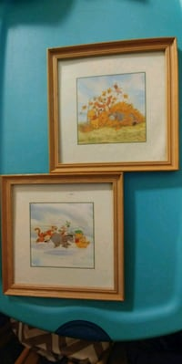 two Winnie the Pooh paintings with brown wooden frames Philadelphia, 19104
