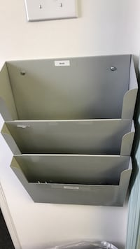 Gray metal wall mounted for paper or file in and out  Burlington, 01803
