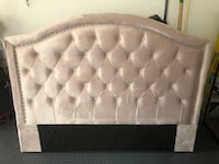 Tufted light pink headboard