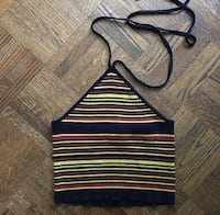 blue, yellow, and red striped halter-neckline top