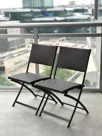 Outdoor Brown Wicker Folding Chair Set of 2 New York, 10018
