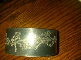 Pewter Cherry Blossom Cuff Bracelet