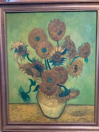 brown wooden framed painting of flowers Mc Lean, 22102
