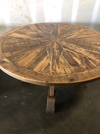 Round brown wooden pedestal table restoration hardware Merrifield