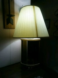 brown wooden base with white lampshade table lamp 271 mi