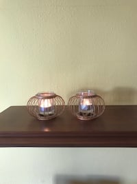 2 wooden candle holders