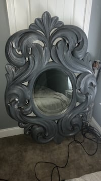 two gray wooden framed wall mirrors Foley, 36535