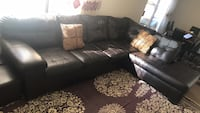 black leather sectional sofa with throw pillows Patterson, 95363