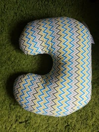 grey, yellow, and blue chevron pattern neck pillow