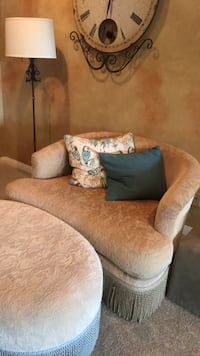 brown suede sofa chair with throw pillows San Diego, 92127
