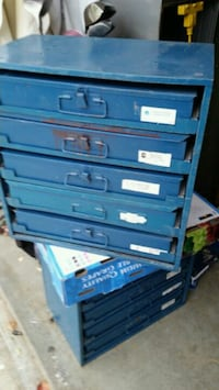 Lot of two Bowman five drawer parts cabinets.