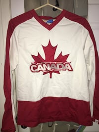 Red and white Canada jersey shirt