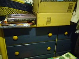 Kids chest of drawers with blue front