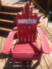 Red and black wooden patio chair Calgary, T3M 0P4