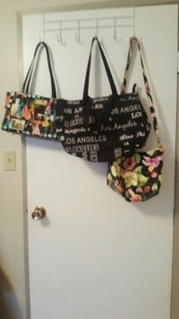 black and yellow floral tote bag Medicine Hat