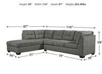 Charcoal gray sectional with left chaise   Oxford, 38655
