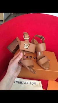 Hottest LV brown leather open toe ankle strap heels - SHIPPING ONLY Edison, 07036