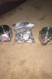 2 jars and 1 bag of seashells