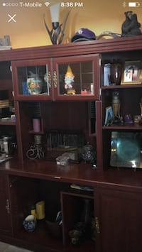 brown wooden TV hutch with flat screen television Baton Rouge, 70816