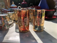 $10 Each - Beautiful Shimmery  Blue & Red Glass Cups Tenafly, 07670