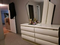 white dresser with mirror ,bed and nightstand  Surrey, V3W 3K4