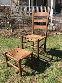 Old antique rush chair and footstool with additional footstool - all for just $20 bucks Glen Allen, 23060