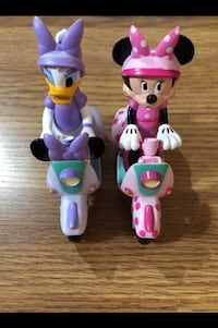 MINNIE MOUSE & DAISY DUCK on SCOOTER Figures Pull Back Toys Tinley Park