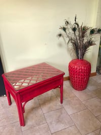 Small Wicker Table & Vase