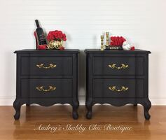 Black French Provincial End Table or Nightstands