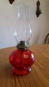 Vintage red glass oil lamp Lititz, 17543