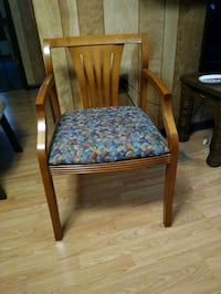 HON CHAIRS - 8 Wood Back Chairs w/Arms- Multicolor Fabric Seat- LEAF