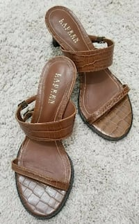 Womens Ralph Lauren 8 1/5 Wedge Sandal Shoes Size - 7.5 US Polo Mid Heel Stafford