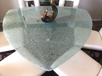 Crackle Glass Triangular Dining Set with Six Chairs HENDERSON