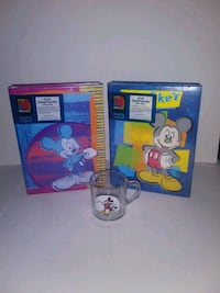 Two vintage Mickey Mouse photo albums with cup 1950 mi