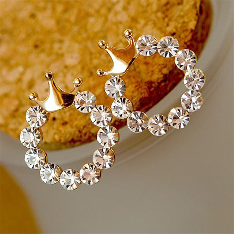 Crown fashion earrings, with round rhinestones