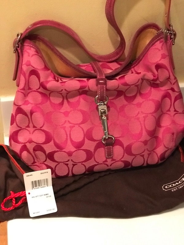 Pink Coach Latch Purse with Brown Storage Bag